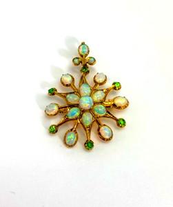 Vintage 14kt Opal and Green Garnet Starburst Pin/Pendant