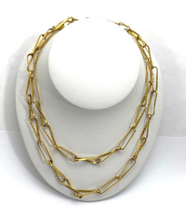 Vintage 18kt Braided-Texture Paperclip Link Necklace 65 grams