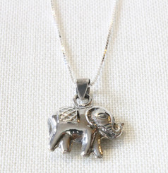 Silver Necklace with Silver Elephant Pendant