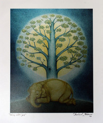 Print of Original Elephant Painting on Photographic Paper