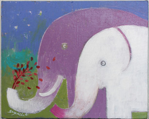 Original Painting of Elephants on Canvass by Supachet