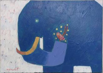 Original Elephant & Bird Painting on Canvass by Supachet