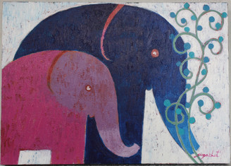 Original Elephant Painting on Canvass