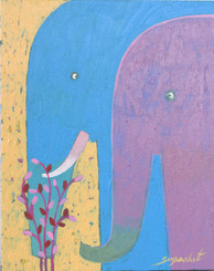 Original Elephant Painting in Acrylic on Canvass - Supachet