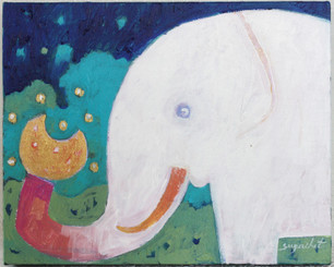 Original Painting of an Elephant on Canvass by Supachet