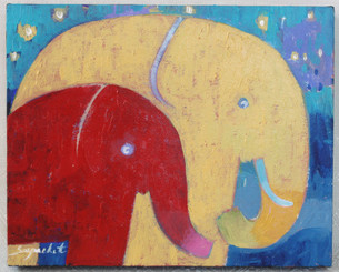 Original Elephant Painting on Canvass by Supachet