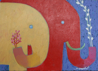 Original Elephant Painting in Acrylic on Canvass by Supachet