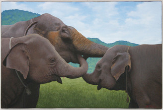 Original Acrylic Elephant Painting on Canvass - Medium