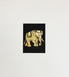 Original Elephant Painting in Gold & Black GPEL02
