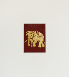 Original Elephant Painting in Gold & Terracotta