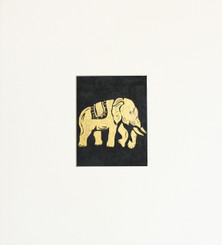 Original Elephant Painting in Gold & Black