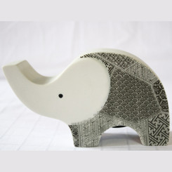 Ceramic Elephant Money Box with White & Grey Design