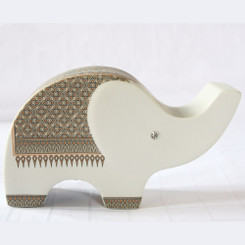 Ceramic Elephant Money Box with Flower Design