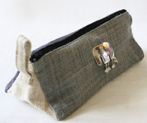 Hemp Pencil Case with Decorative Elephant