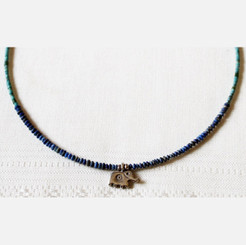 Lapis and Turquoise Stone Necklace With Silver Elephant Pendant
