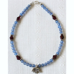 Blue Agate and Garnet Stone Anklet with Silver Elephant Pendant