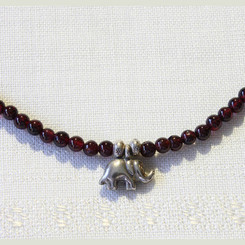 Garnet Stone Necklace with Silver Elephant Pendant