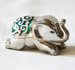 Ornamental Pewter Elephant with Green Enamel Design