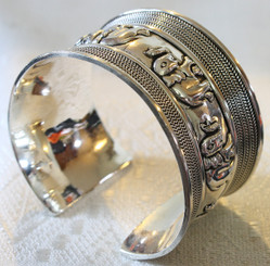 Thick Silver Plated Elephant Bangle