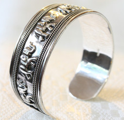 Silver Plated Elephant Decorated Bangle