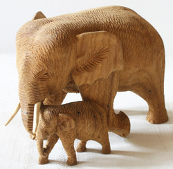 Wood Carving of Mother & Baby Elephant