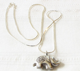 Silver Necklace with Elephant Pendant & Om Symbol