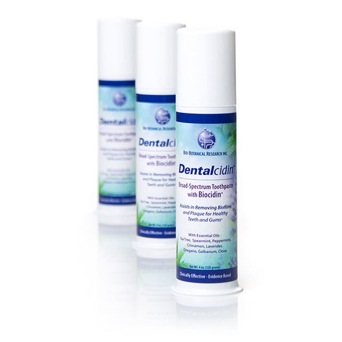 Dentalcidin™ Broad-Spectrum Toothpaste with Biocidin®. Broad-Spectrum botanicals and essential oils flight plaque and mouth odors. Tastes great, perfect for children and adults. Bio-Botanical Research.