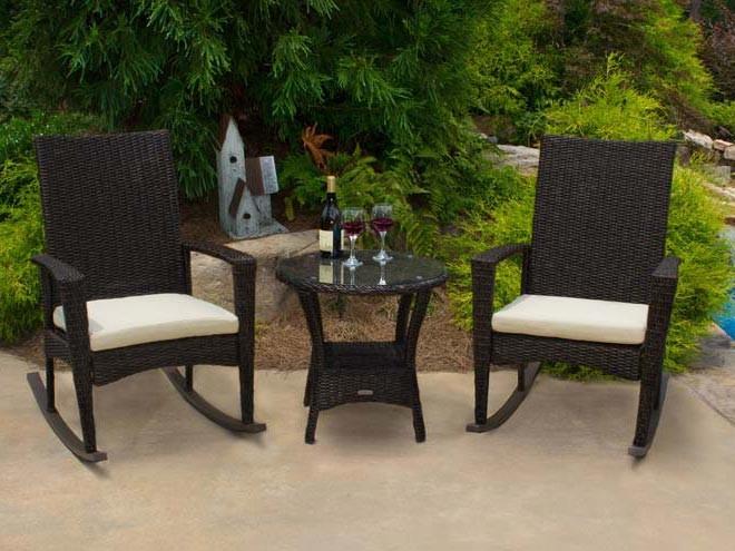 Tortuga Outdoor Bayview Resin Wicker Rocking Chair Set Modern