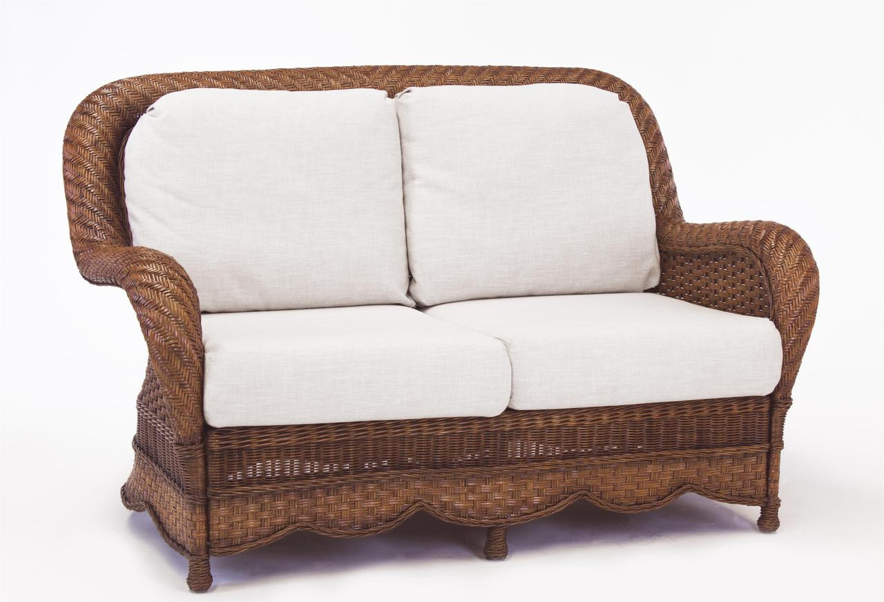 South Sea Rattan Autumn Morning Indoor Wicker Loveseat Modern Wicker Llc