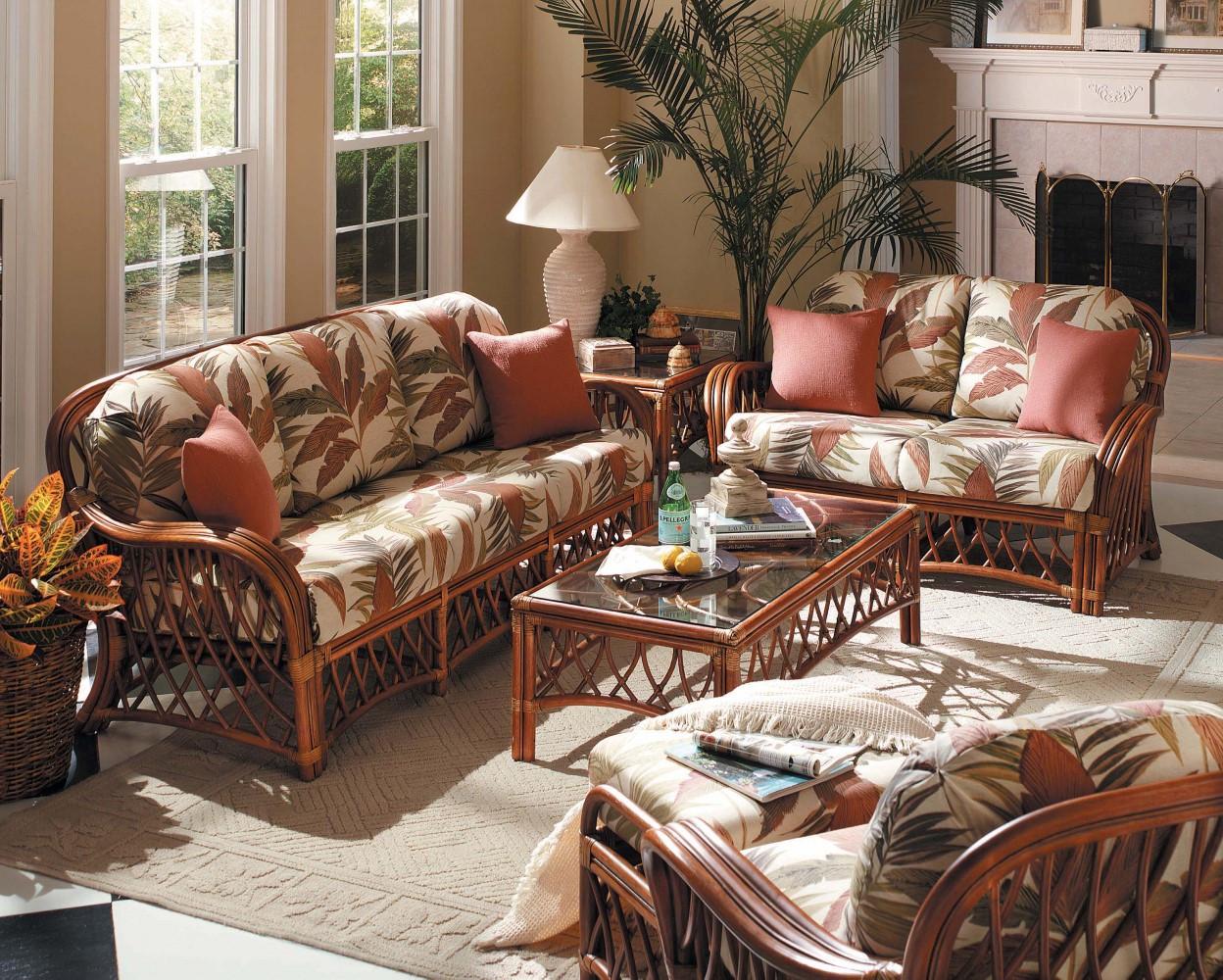 South Sea Rattan Antigua Indoor Living Room Set Modern Wicker Llc