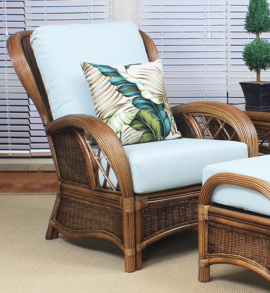 South Sea Rattan Bali Indoor Wicker Lounge Chair Modern