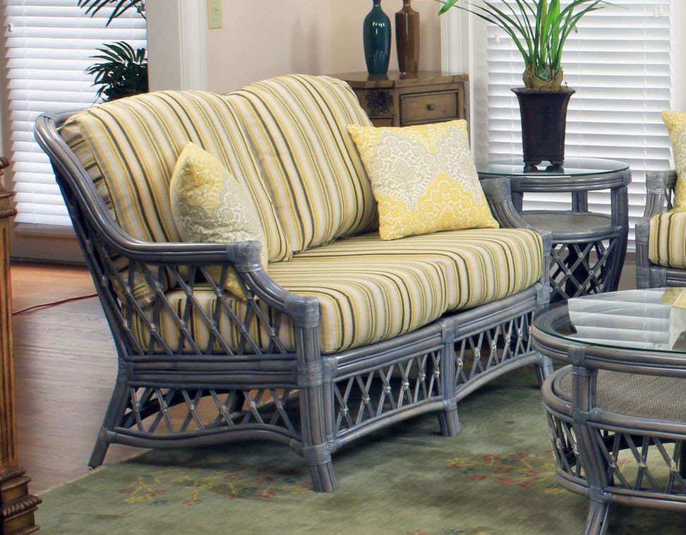South Sea Rattan Nadine Indoor Loveseat Modern Wicker Llc