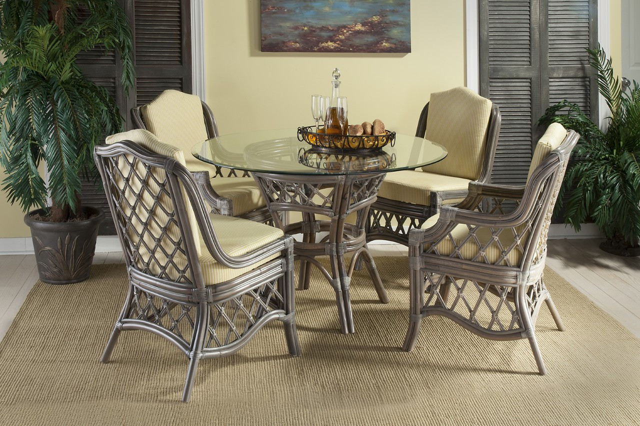 South Sea Rattan Nadine Indoor Dining Set Modern Wicker Llc