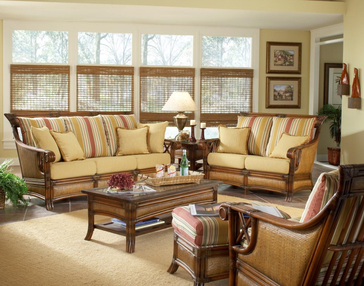 South Sea Rattan Pacifica Indoor Wicker Living Room Set Modern Wicker Llc