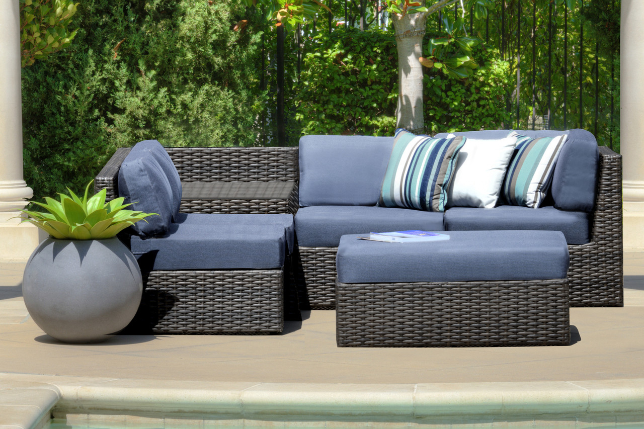 Forever Patio Horizon Wicker 6 Piece Sectional Set Throw Pillows Not Included Modern Wicker Llc
