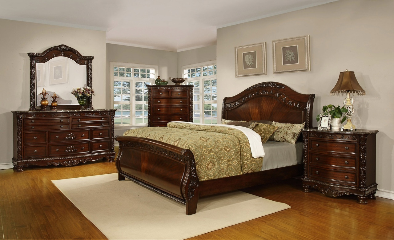 Oasis Home Patterson 5 Piece California King Sleigh Bedroom Set Modern Wicker Llc