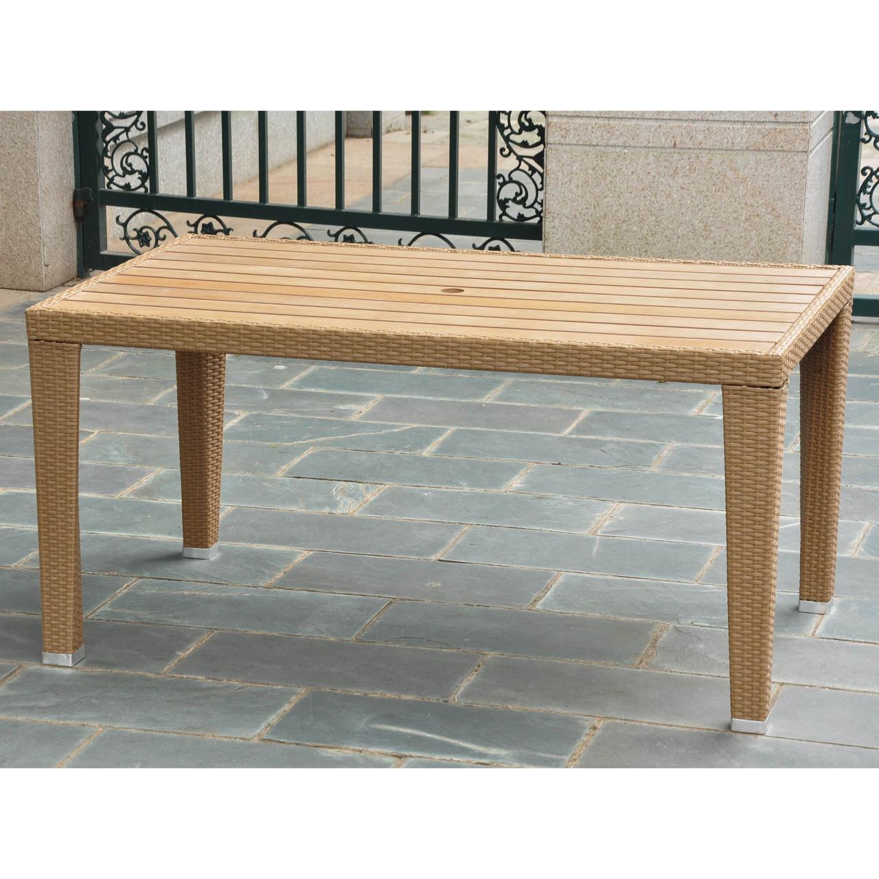 International Caravan Patio Furniture.International Caravan Barcelona Resin Wicker Aluminum Rectangular Dining Table