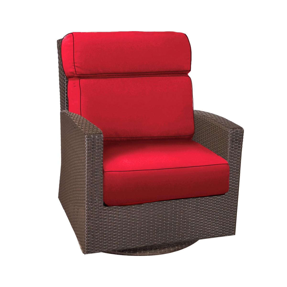 Forever Patio Barbados Wicker High Back Swivel Rocker Club Chair Ebony,  Flagship Ruby With Canvas