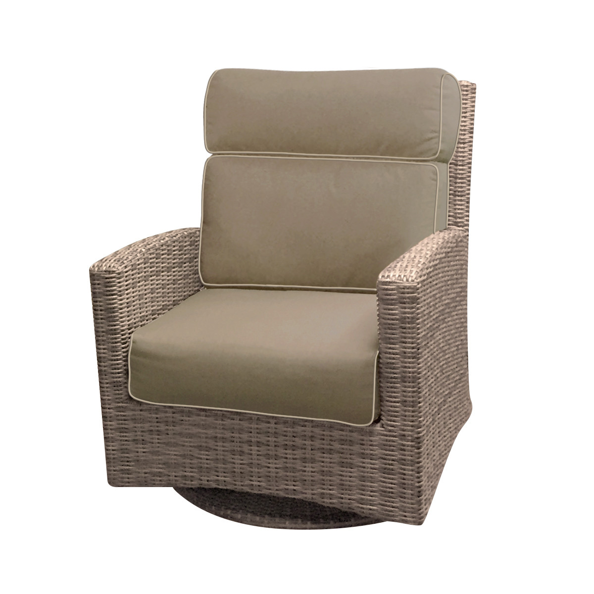 Forever Patio Cypress Wicker High Back Swivel Rocker Club Chair Heather  Sunbrella Canvas Taupe With Linen