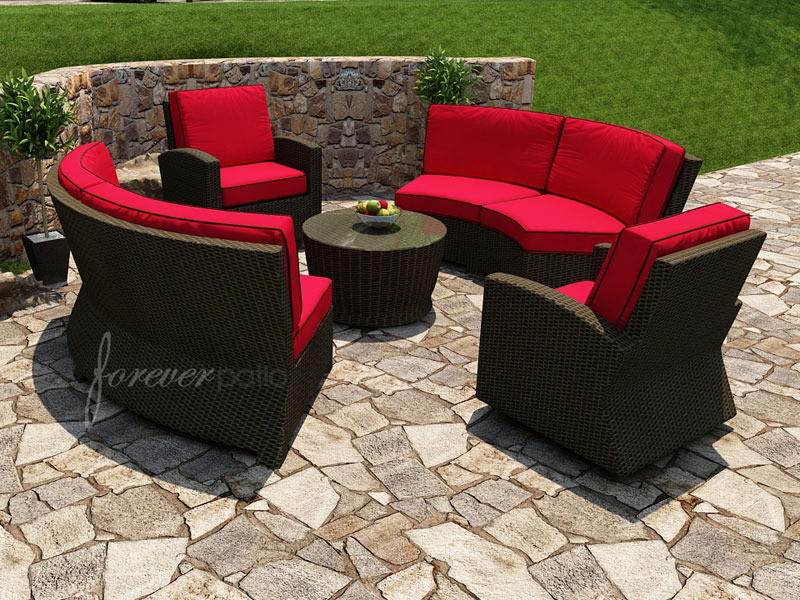 Forever Patio Barbados Wicker 5 Piece Curved Sectional Set By