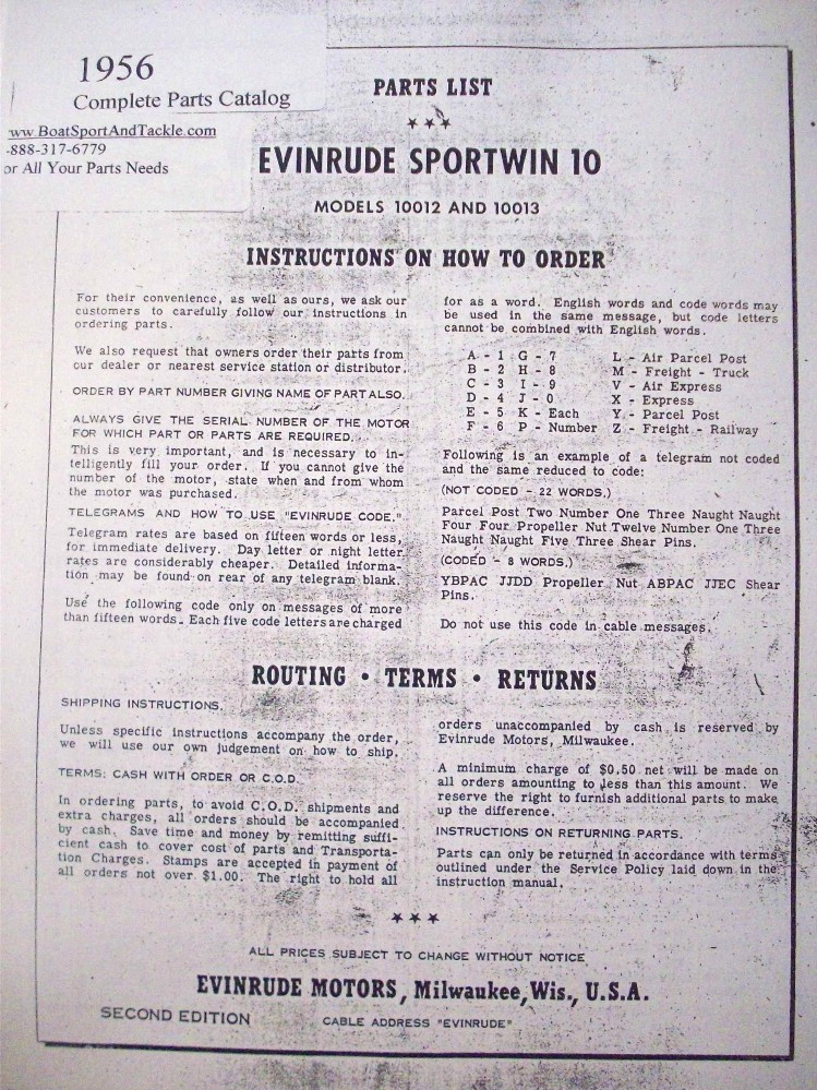 Parts List - Model 10012 and 10013 - 1956 Evinrude Sportwin 10 hp
