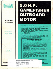Eska Sears Gamefisher Owner's Manual - Model 217-585420
