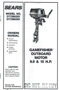Eska Sears Gamefisher Ted Williams Owner's Manual - Model 217-586261