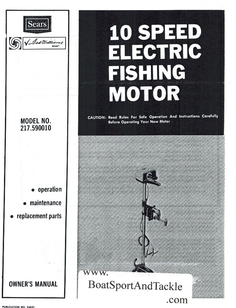 Eska Sears Ted Williams Owner's Manual - Model 217-590010 - 10 Speed  Electric Trolling Motor - Includes Parts List and Diagrams
