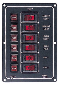 Aluminum Vertical Rocker Switch Panel - SeaDog 422110-1 - 12 Volt - 37 Amp Max - 6 Illuminating Switches - View 1
