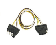 4-Flat Trailer Extension Harness - Wesbar 707254 - 2' Long - Male & Female Connections