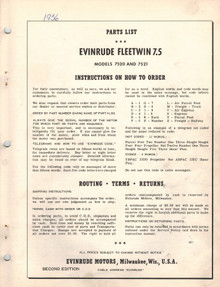 Parts List - Model 7520 and 7521 - 1956 Evinrude Fleetwin 7.5 hp
