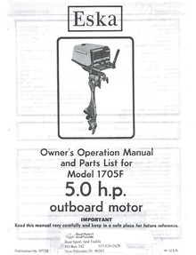 Eska Owner's Manual - Model 1705F