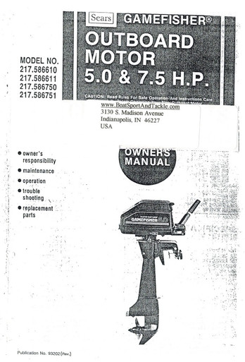 Eska Sears Gamefisher Ted Williams Owner's Manual - Model 217-586611