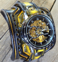 Black and Yellow Steampunk Watch